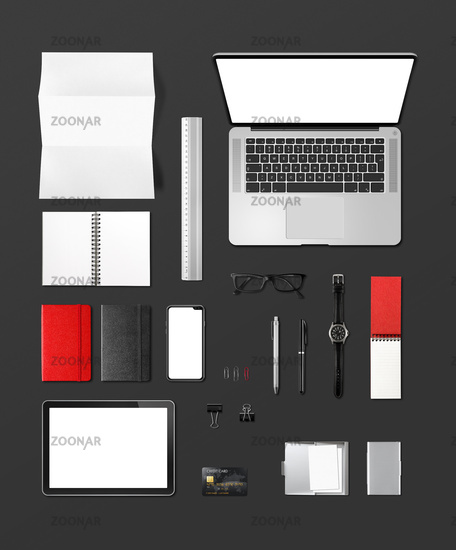 Office desk branding mockup top view isolated on black