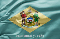 Waving state flag of Delaware - United States of America