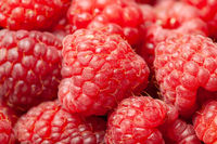 Ripe and Fresh Raspberries Close View