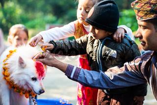 Nepal Police celebrates Kukur Tihar in Kathmandu