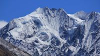 Glacier covering parts of mount Gangchenpo, Langtang Himal, Nepal.