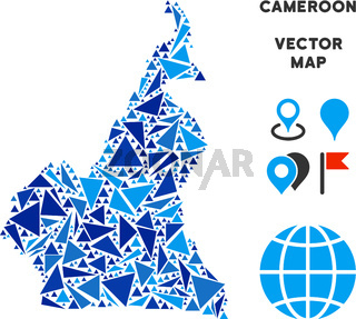 Blue Triangle African Cameroon Map