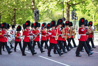 London, United Kingdom - May 12, 2019: Marching the Queen's Guards during traditional Changing of the Guards ceremony at Buckingham Palace in London, United Kingdom. Trumpeters of the Royal Guard.