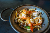 Shrimp teppanyaki, japanese traditional hot plate food