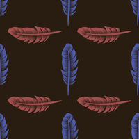 Blue Red Feathers Seamless Pattern