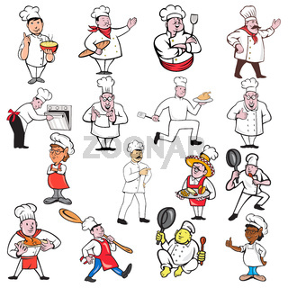 Chef Baker Cook Cartoon Set