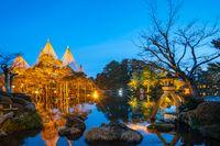 Light up in Kenrokuen Garden at night in Kanazawa, Japan