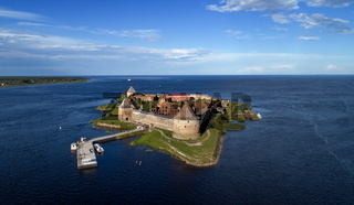 Aerial view on fortress Oreshek in Neva