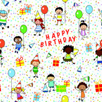 happy birthday illustration, seamless pattern - kids on birthday party wrapping paper  -