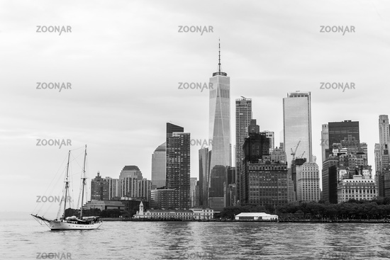 Panoramic view of Lower Manhattan and Jersey City, New York City, USA