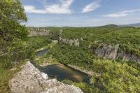 Blick vom Bois de Paiolive in die Chassezac-Schlucht, Südfrankreich