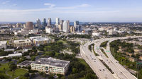 Aerial View Over Interstate Highway Leading to Downtown Tampa Florida