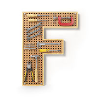 Letter F. Alphabet from the tools on the metal pegboard isolated on white.