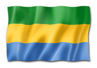 Gabonese flag isolated on white