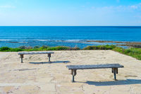 Empty benches  sea Paphos, Cyprus