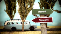 Street Sign Ascent versus Descent