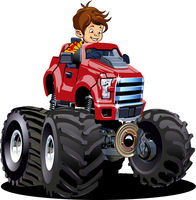 Cartoon Monster Truck with driver isolated on white