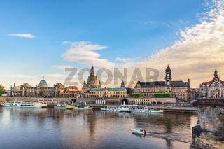 Dresden Germany, city skyline at Elbe River