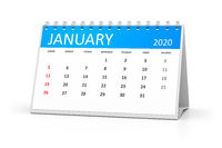 table calendar 2020 january