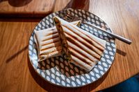 Shawarma cut in thwo parts on plate