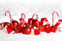 Christmas decor on snow