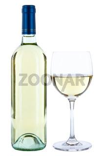 Weinflasche Weinglas Wein Flasche Glas Weißwein Weisswein Alkohol Getränk freigestellt Freisteller