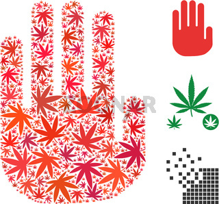 Stop Hand Collage of Cannabis