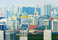 Modern density city skyline Singapore
