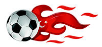 soccer ball on fire with turkey flag