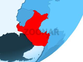 Map of Peru on blue political globe