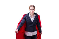 Superhero woman isolated on white background