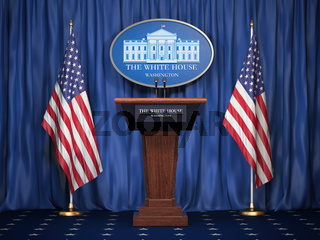 Briefing of president of US United States in White House. Podium speaker tribune with USA flags and sign of White Houise. Politics concept.