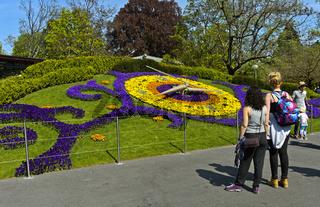 Besucher betrachten an der Blumenuhr, Genf, Schweiz