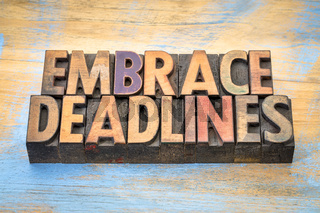 embrace deadlines in wood type