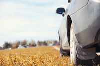 The car is parked in the autumn field. The car is driving along