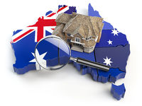 House and loupe on the map of Australia in colors of australian flag. Search a house for buying or rent concept. Real estate development in Australia. 3