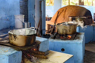 Farm rustic kitchen in the interior of Brazil with wood stove and oven of clay