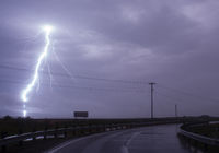 Huge Lightning Bolt Strike Storm Chase Gulf of Mexico
