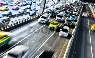 Controlled-access highway in Bangkok during rush hour.
