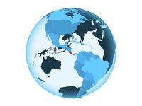 Costa Rica on blue globe isolated