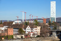 some construction cranes at Basel Swiss