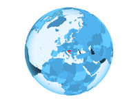 Croatia on blue globe isolated
