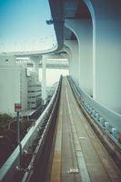 Monorail on Rainbow bridge, Tokyo, Japan