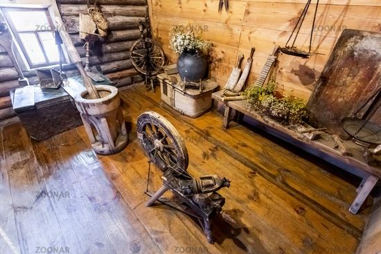 Vintage wooden house utensils in rural home