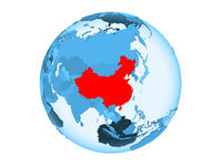 China on blue globe isolated