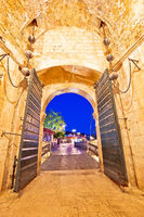 Pile gate entrance in historic town of Dubrovnik evening view
