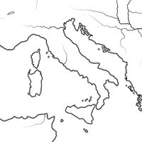 Map of The ITALIAN Lands: Italy, Tuscany, Lombardy, Sicily, The Apennines, Italian Peninsula. Geographic chart.