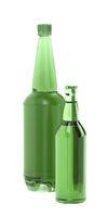 Green beer bottles on white background
