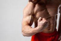 Man shows his biceps