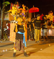 Boy with Nyepi figures, Bali